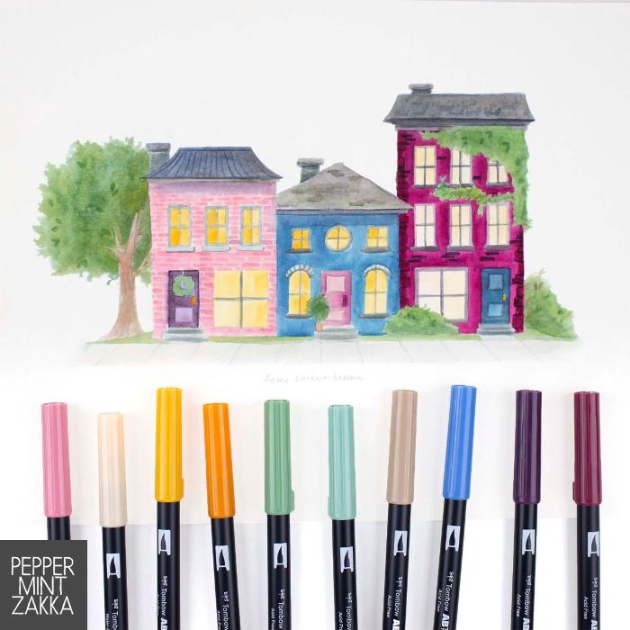 Tombow ABT Cottage Dual Brush Pen - 10 Colors Bundle Set