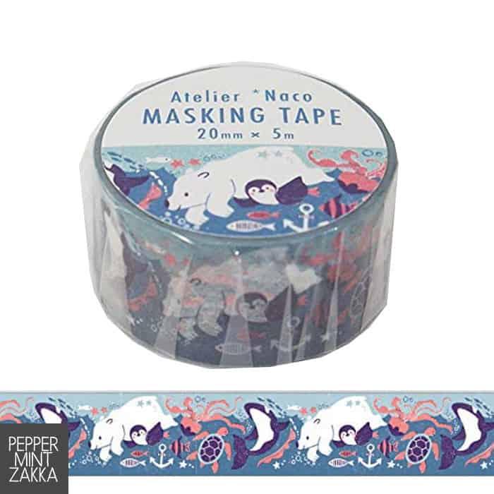 Kodomo no Kao x Atelier Naco Masking Tape Sea Animals 1699-003