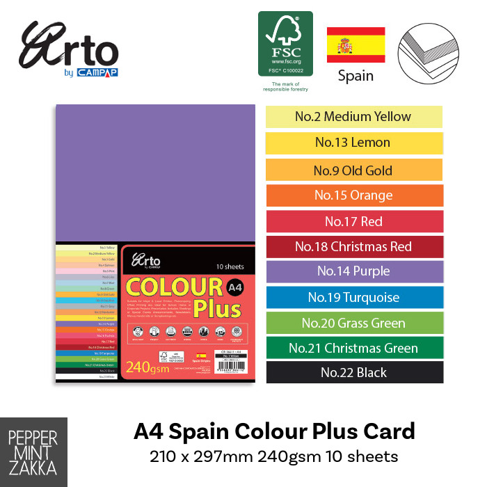 Arto A4 Spain Colour Plus Card (FSC Mix) Measurement: 210 x 297mm 240gsm 10 sheets Made in Malaysia
