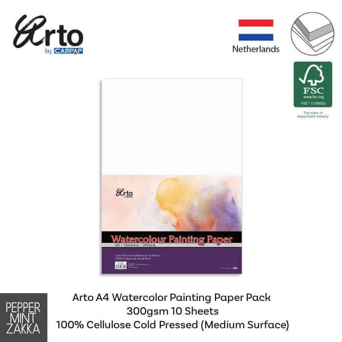 Arto A4 Watercolor Painting Paper Pack 300gsm Cellulose