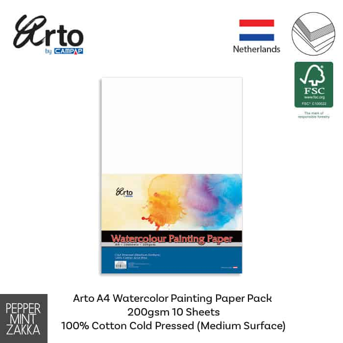 Arto A4 Watercolor Painting Paper Pack 200gsm 10s 100% Cotton