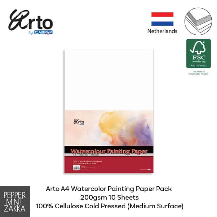 Arto A4 Watercolor Painting Paper Pack 200gsm 10s 100% Cellulose
