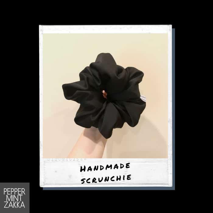 Lurveau Handmade Lux Satin Scrunchie Black