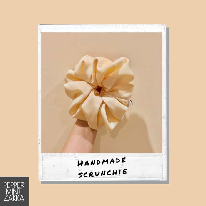 Lurveau Handmade Lux Satin Scrunchie Butter Cream