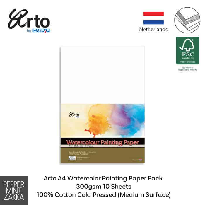 Arto A4 Watercolor Painting Paper Pack 300gsm